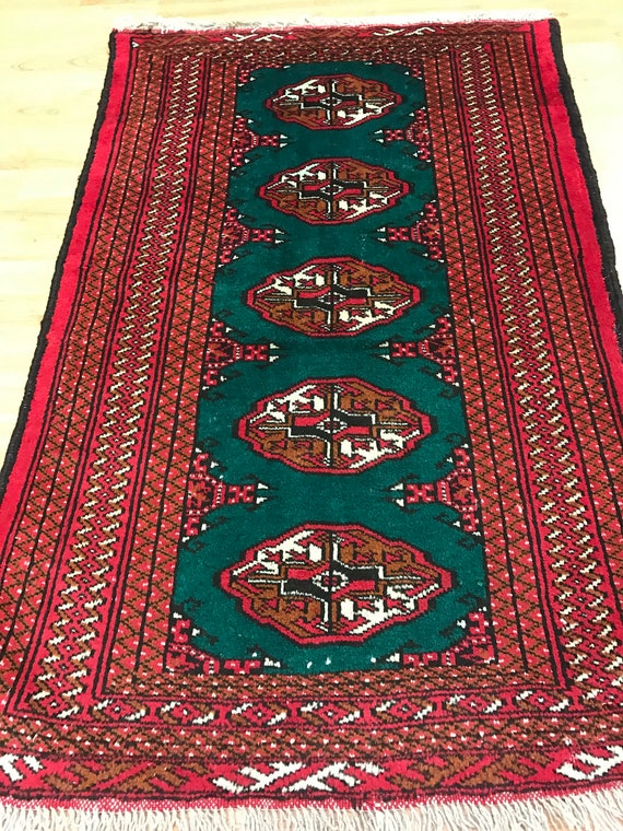 "2'6"" x 3'10"" Persian Turkeman Oriental Rug - 1950s - Hand Made - 100% Wool"