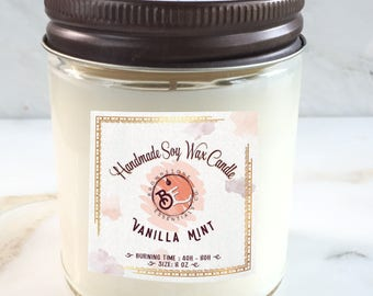 Vanilla Mint Scented Candle 8oz