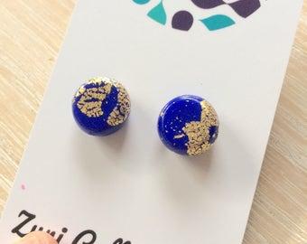 Earrings- studs royal blue, gold