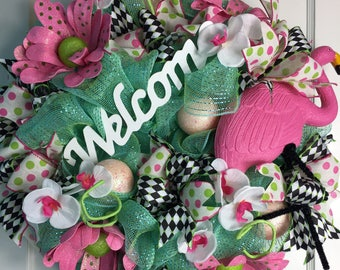 Welcome Pink Flamingo Door Wreath
