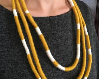 Fiber Necklace / Multi-strand Necklace / Statement Piece / Texture / Color Blocking / Bold