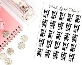 Day Off   Lettering Planner Stickers   Mini Sheet