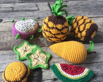 Fruit/Crochet pattern/ PDF/ Crochet Pattern/ Play Food Pattern/Tropic