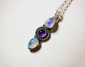 Amethyst Moon - Moonstone and Amethyst Sterling Silver Necklace
