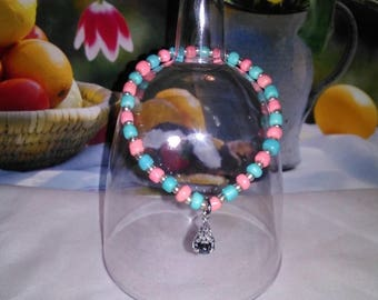 Cotton candy pink and blue baby bracelet