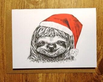 Sloth Christmas Card- sloth card, fun card, illustration, xmas card