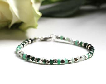 Ombre Emerald Bracelet, Genuine Shaded Emerald Green Beads, 925 Sterling Silver Clasp, Thin Dainty and Delicate Bracelet,May Birthstone Gift