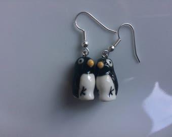 Ceramic penguin dangly earrings