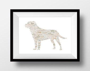 Labrador artwork, Labrador print, Labrador present, Labrador gift, Labrador drawing