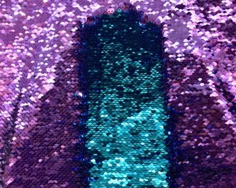 """Purple/Turquoise 5mm Shiny Flip Up Sequin on Spandex, 54"""" inch, sold by the yard"""