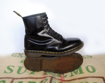 Dr Doc Martens Classic Black Boots  – 80's Vintage Original Made in England Size UK11, US M 11.5, 13 EU 45, 8 Hole Punk Combat Boots