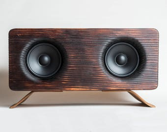 Wood Bluetooth Speaker - Shou Sugi Ban Pine w/ Amazique/Shedua Bentwood Legs - Rustic, Mid-century Modern Fusion - Handmade in California