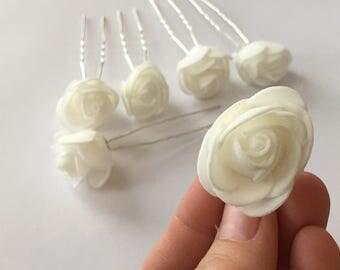Set of 6 White Mini Rose Hair Pins / Wedding Hair Flowers / Floral Foam Hair Accessories / White Rose Hair Clip Set / HA2