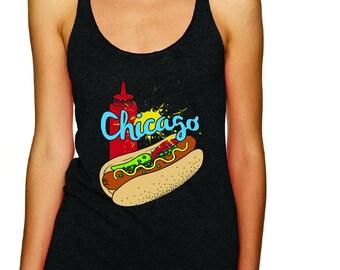 Women's Chicago Home Tank, Chicago Hot Dog Shirt, Home Tank, Hot Dog Tank, Funny Chicago Tank, Chicago Home Tank, Funny Food Tank