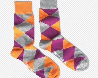 Men's Mismatched Orange & Purple Argyle Socks