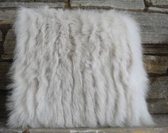 real grey fox fur pillow with satin backing