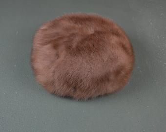 Vintage Mink Hat, Pillbox Millinery, 1960s Fur, Natural Mink, Winter Mink Hat, Mid Century Fashion, #412