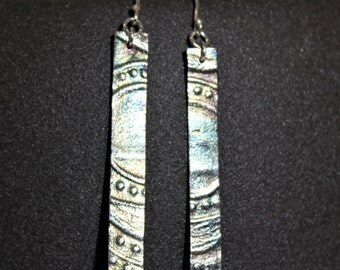 Pure silver dangle earrings with texture and rainbow patina