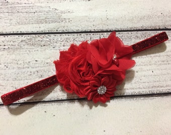Red Flower Headband Red Baby Headband Christmas Headband Red Headband Baby Headband Glitters Headband Valentine Headband