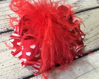 """Red Valentine Over The Top Hair Bow, Red Over The Top Hair Bow, Red Valentine Hair Bow, Red Hair Bow, Valentine Baby Headband ,5""""Hair Bow"""