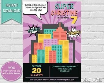 Girl Superhero Invitation | superhero Party, Superhero Birthday, Superhero, Superhero Invite, Superhero, Superheroes Super Hero Invite