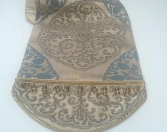 Elegant Damask Medallion Table Runner in Earth Tones and Denim Blue - Size 64 in x 13 in