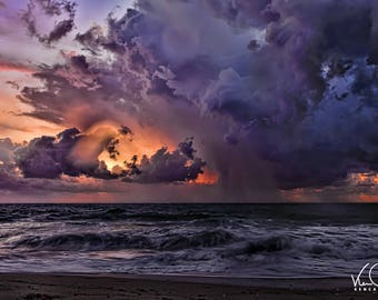 Ocean Print, Ocean Wall Art, Ocean Photography, Coastal Art Print, Ocean Water, Beach Print Art, Beach Wall Art, Beach House Decor, Purple