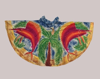 s a l e 1950s Hand Painted Mexican Circle Skirt Swordfish Palm Trees