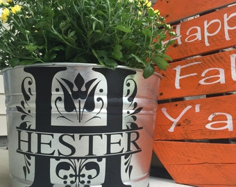 Personalized Flower Pot // Personalized Ice Bucket // Steel Flower Pot // Mum Flower Pot
