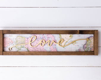 love arrow map sign // map wall decor // map wood sign // adventure themed // nursery decor // travel decor // gift for her