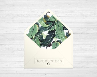 Tropical Banana Leaves - ENVELOPE LINERS - DIY Printable Wedding Invitations | Made to fit A1, A2, A6 & 5.75 Square