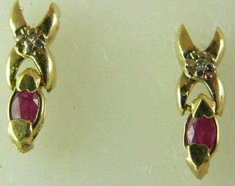 Ruby and Diamond Stud Earring 14k Yellow Gold