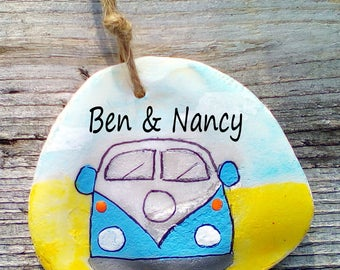 VW Camper - Personalised - Hand Painted Seashell