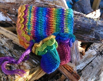 Crocheted baby rainbow wool pixie hat and booties