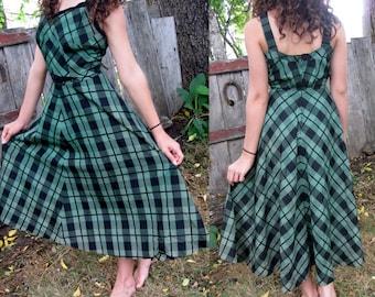 Handmade Vintage Green Taffeta Plaid Dress