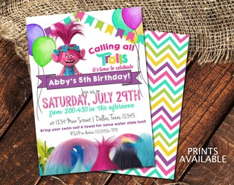 TROLLS BIRTHDAY INVITATIONS | Princess Poppy Birthday Party Invite | Calling all Trolls