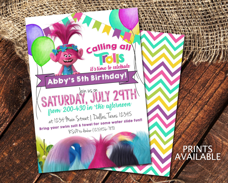 Trolls Birthday Invitations Princess Poppy Birthday Party
