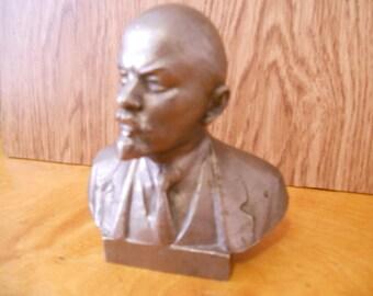 Soviet vintage metal, aluminum alloy, bust of Vladimir Lenin Soviet Russian Communist Leader Bust from USSR Made in 1980-s