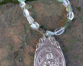 Crystal Gemstone Buddha Necklace FREE domestic SHIPPING