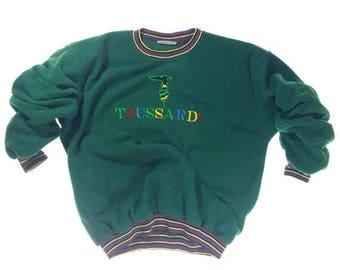 Vintage Trussardi Dark Moss Green Multicolored Logo Sweatshirt Pullover 90s