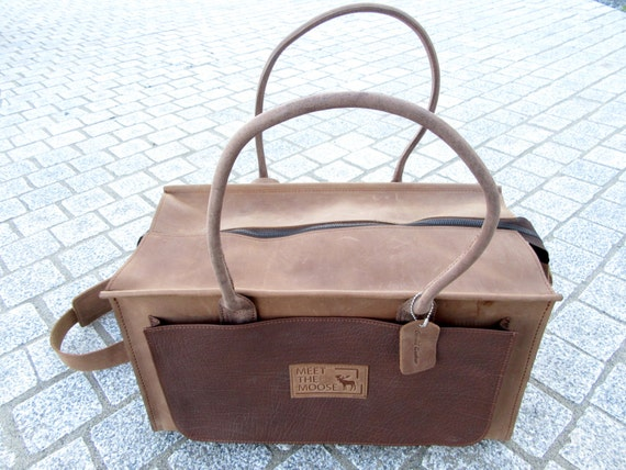 Brown Leather Shopping Handbag, Leather Purse, Leather Tote, Weekend Bag, Travel Bag, Overnight Bag, Duffle Bag