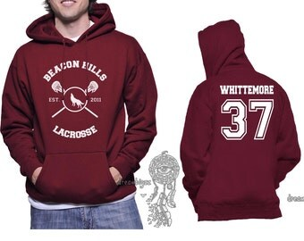 Beacon Hills Lacrosse WL Whittemore 37 Jackson Whittemore printed on Unisex Hoodie MAROON