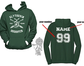 CHASER - Custom back, Slyth Quidditch team Chaser White print printed on Forest green Hoodie