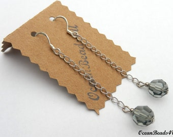 Grey Swarovsky Crystals Earrings