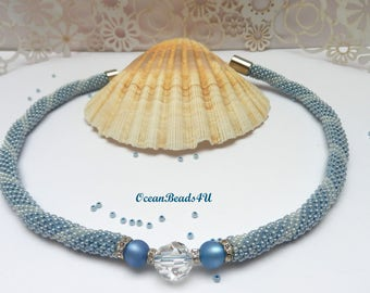 Necklace/ Beaded crocheted rope Blue and white/Beaded Rope Jewelry/ Bead Crocheted Necklace/ Beadwork/Beaded Necklace/ Häkelkette