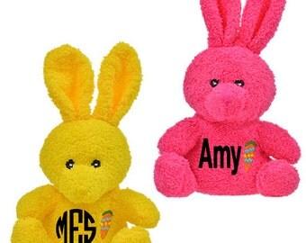 Custom Easter Bunny; Monogram Stuffed Bunny; Personalized Stuffed Easter Bunny