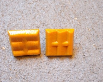 Mosaic Tile Earrings (Mustard Yellow)
