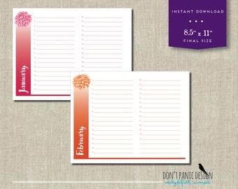 Beautiful Printable Flower Calendar - Birthday Calendar - Anniversary Calendar - Colorful Eternal Planner - Instant Download PDF