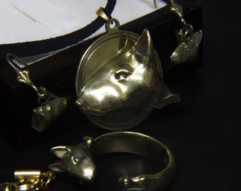 Sterling Silver/Gold Plating Bull Terrier Dog