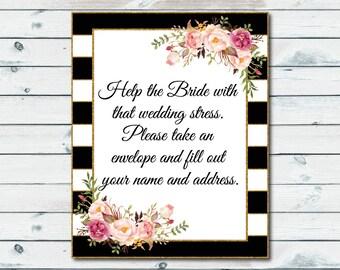 Envelope Bridal Shower Sign, Envelope Wedding Sign, Write Your Name And Address On An Envelope, Floral Wedding Reception Sign, Bridal Shower